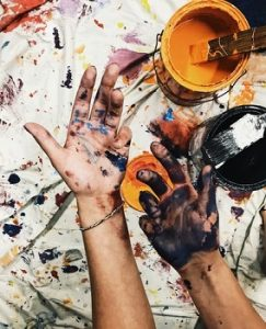 peinture noit et orange